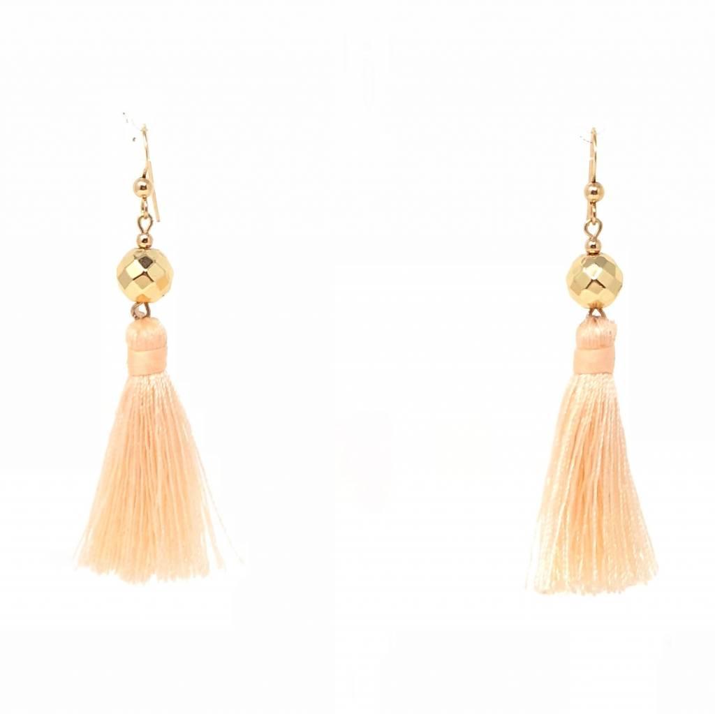 Gold Hematite Tassel Earrings