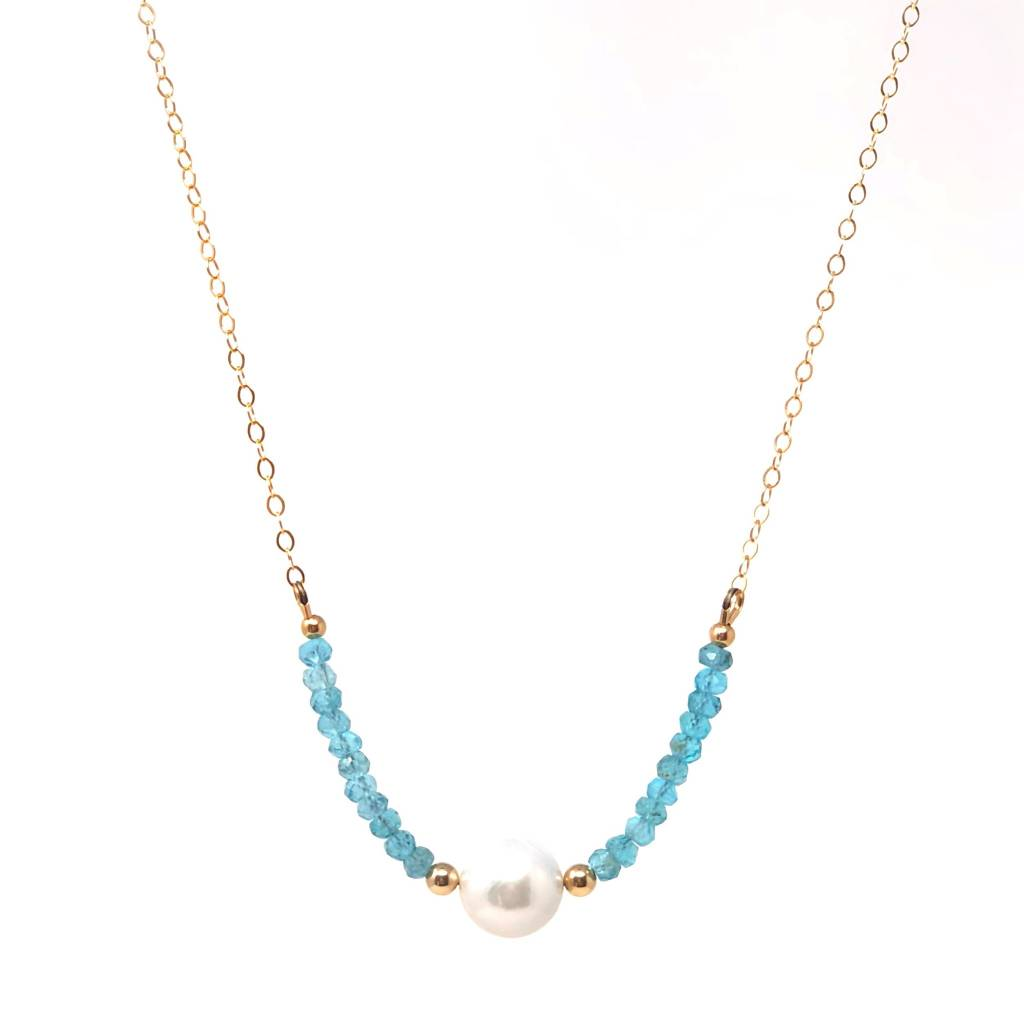 Apatite & Baroque Pearl on GF Chain