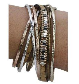 Cork Metallic Wrap Bracelet