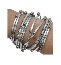 Pewter Disco Wrap Bracelet