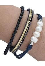 Navy FWP & Stone Bracelet