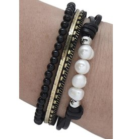 Black FWP & Stone Bracelet
