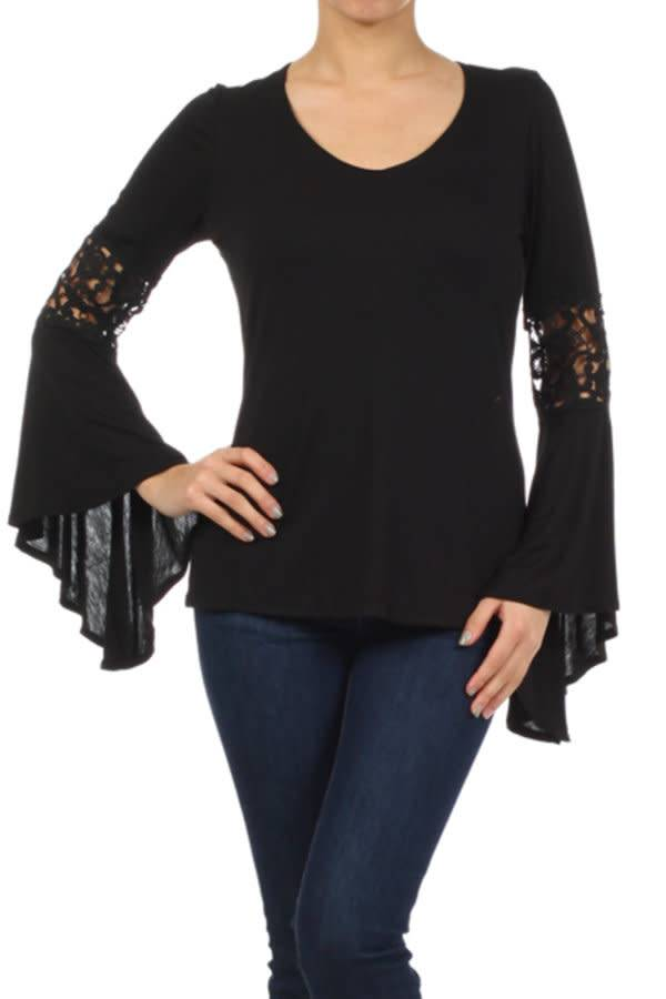 Black Bell Sleeve Lace Inset Top