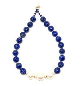 Corossol Triple Baroque & Lapis Necklace