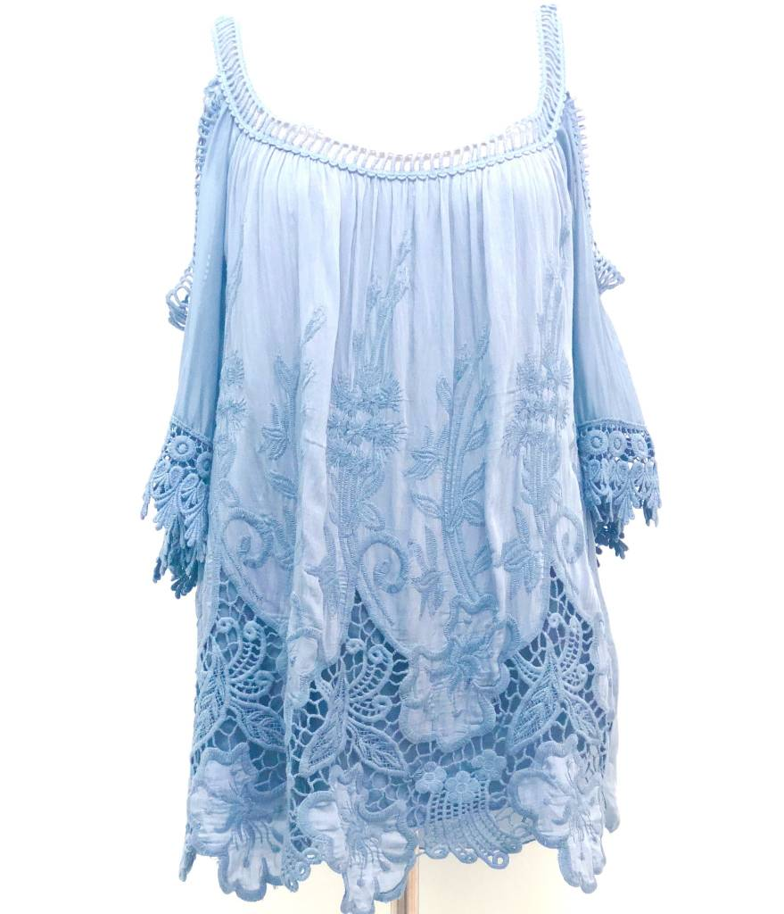Steel Blue Crochet Silk Top