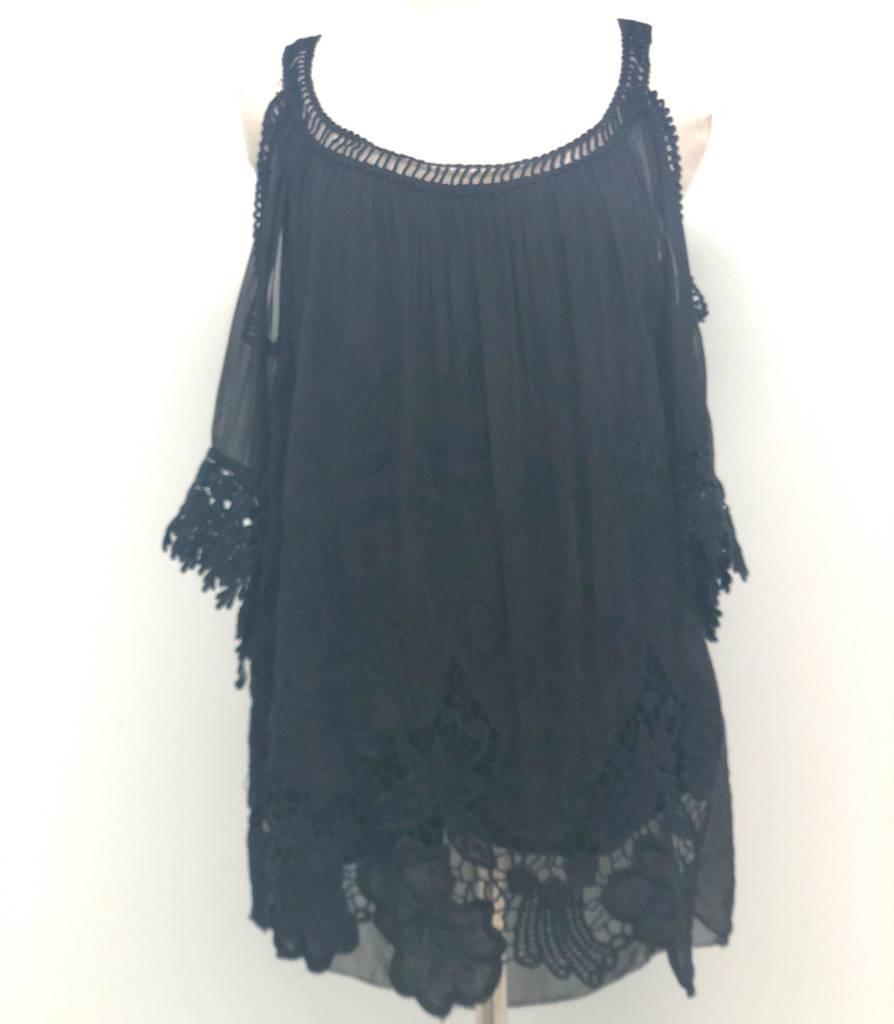 Black Crochet Silk Top