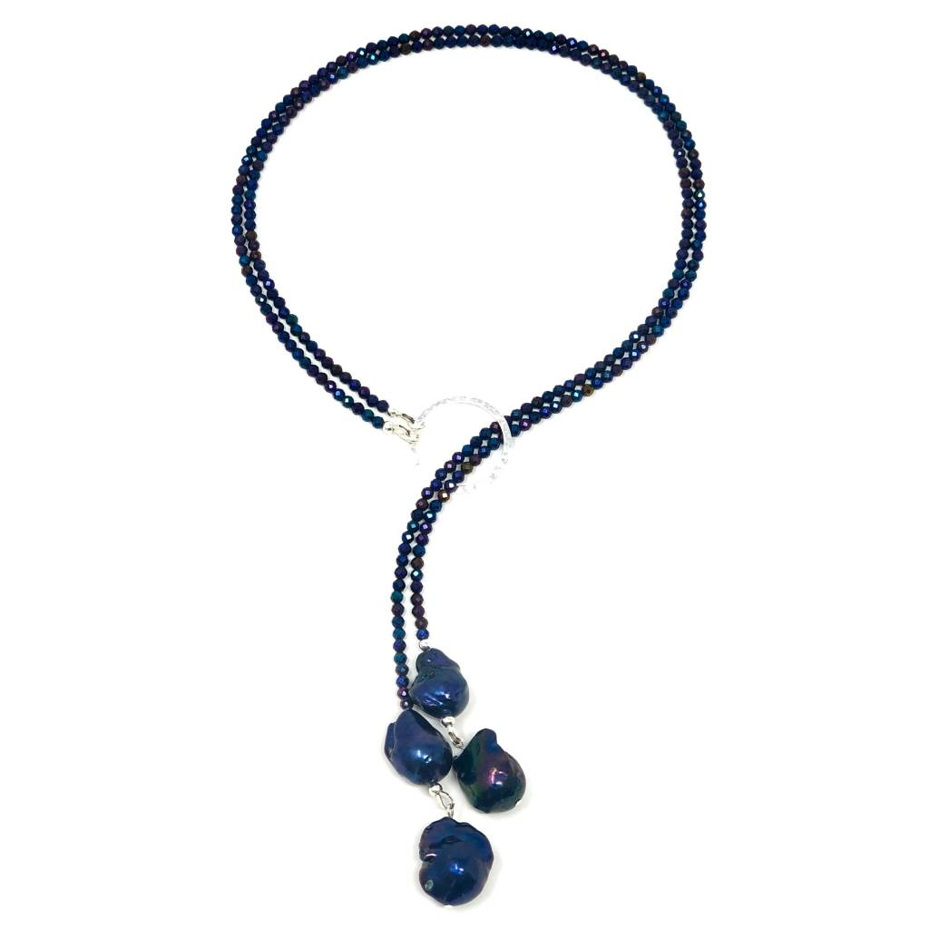 Blue Baroque Pearl & Spinel Lariat
