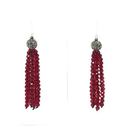 Pave Red Crystal Tassel Earrings
