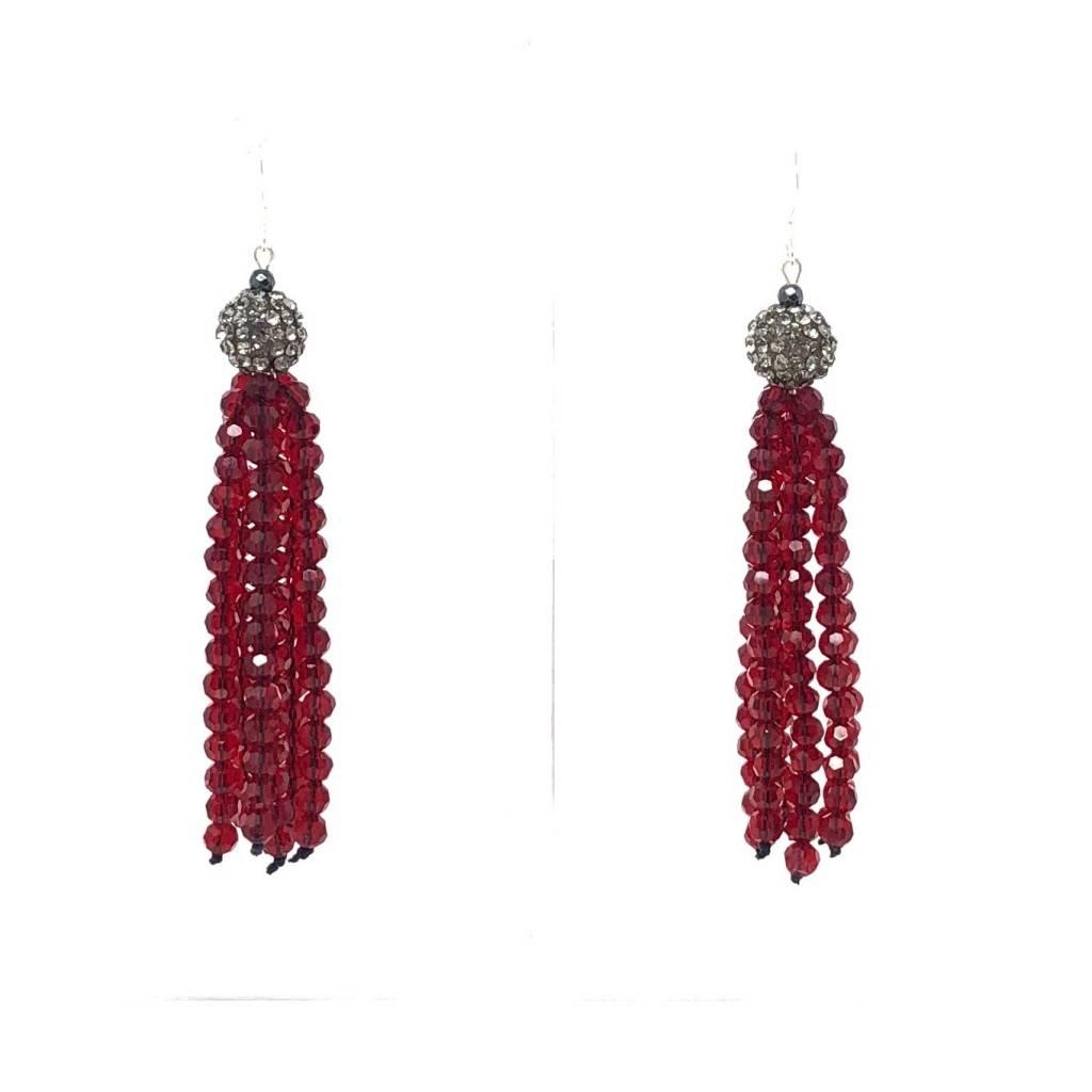 d8b13259a Pave Red Crystal Tassel Earrings - Oceans Allure