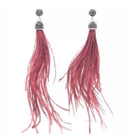 Garnet Feather Earrings