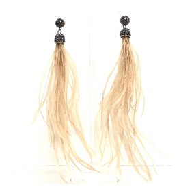 Khaki Feather Earrings