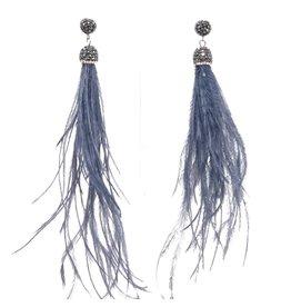 Dark Grey Feather Earrings