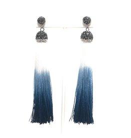 Navy Ombre Tassel Earrings