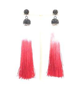 Red Ombre Tassel Earrings