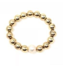 Gold Coated Hematite & Pearl