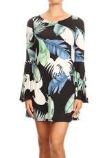 Blue Feathers Bell Sleeve