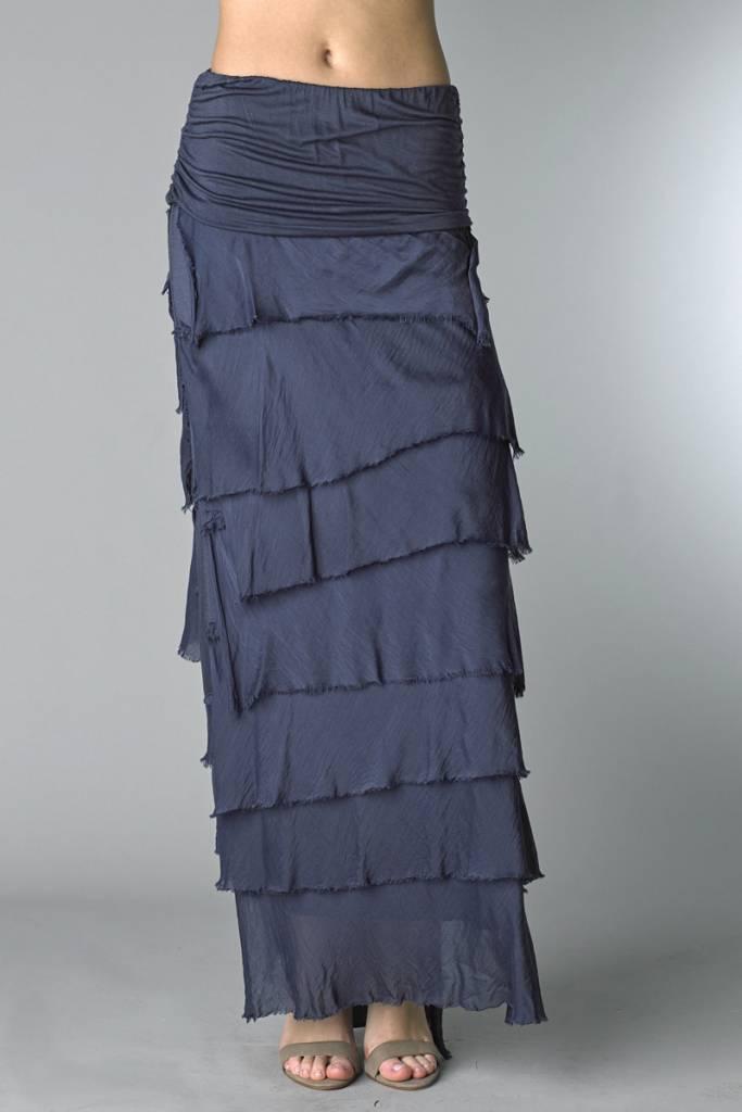 Navy Flutter Skirt