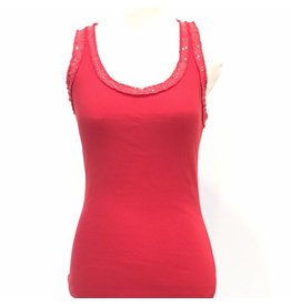 Red Sequin Racer Tank