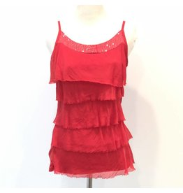 Red Silk Sequin Layer Tank