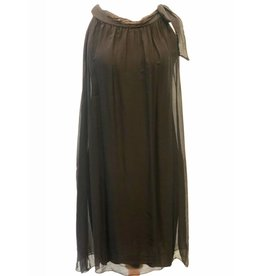 Black Silk Halter Tie Dress