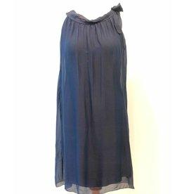 Navy Silk Halter Tie Dress