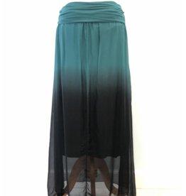 Teal Ombre Silk Maxi Skirt