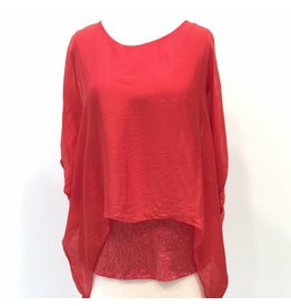 Red Silk Sequin Layer Top