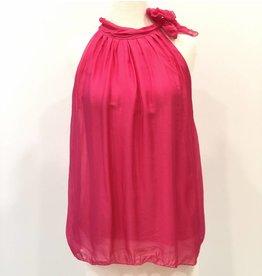 Fuchsia Silk Halter Tie Top