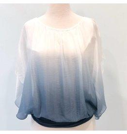 Steel Blue Ombre Silk Top
