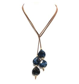 Navy Agate Suede Lariat