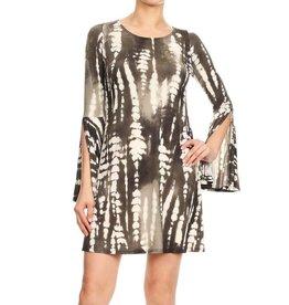 Charcoal Tie-Dye Bell Sleeve Dress
