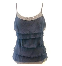 Navy Silk Sequin Layer Tank