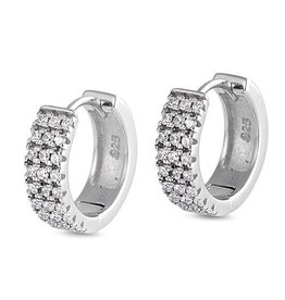 Sterling Huggie CZ Earrings