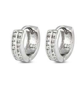 Sterling Huggie Double Row Earrings