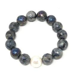 Coated Larvikite & FWP Bracelet