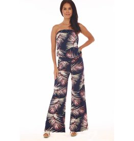 Veronica M Blue Palm Tube Jumpsuit