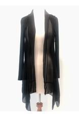 Black X-Long Silk Cardigan