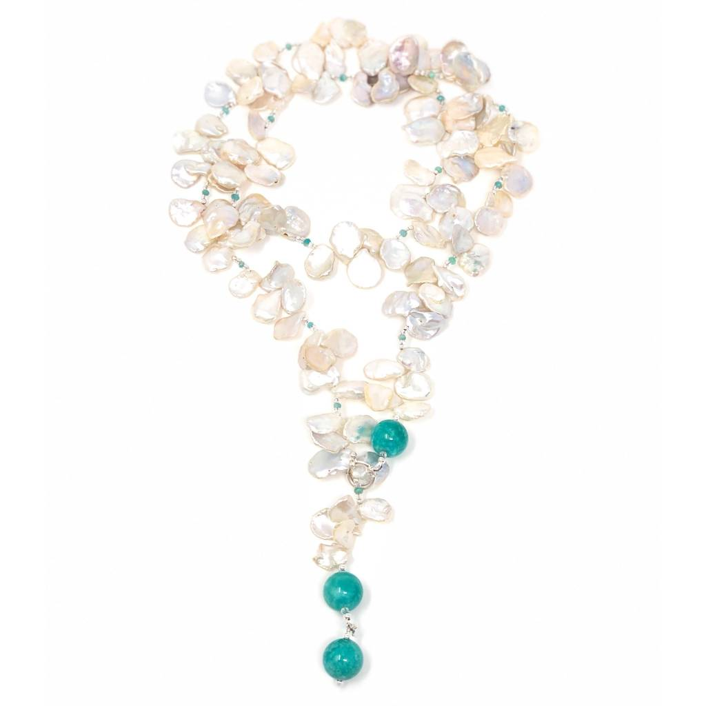 Keshi Pearl & Amazonite Lariat/Necklace