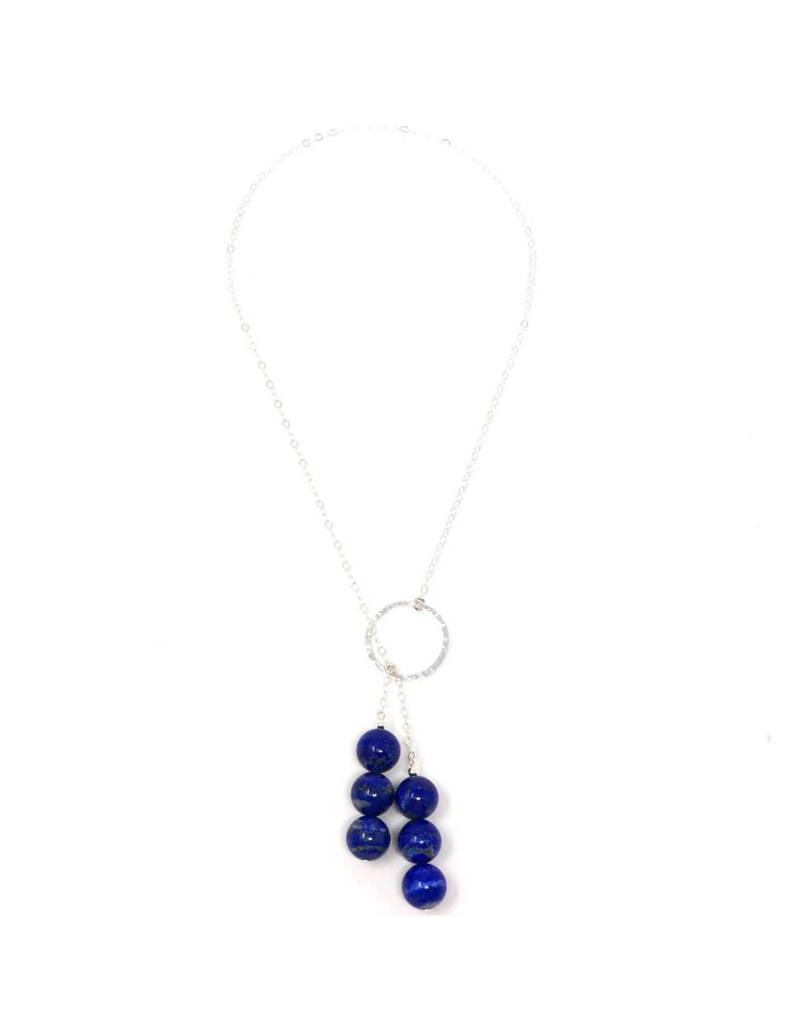 Sterling Lapis Chain Lariat