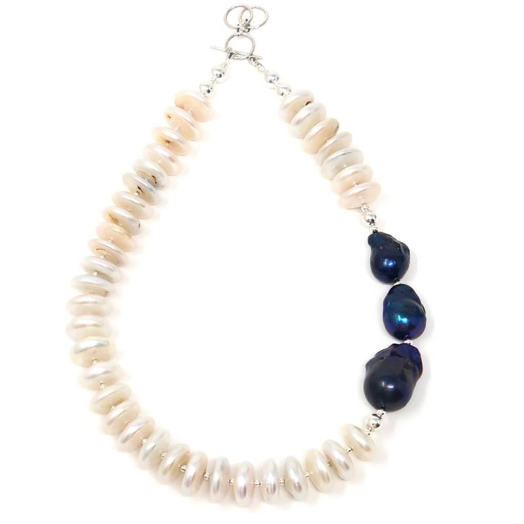 Navy Baroque & DIsc FWP Necklace