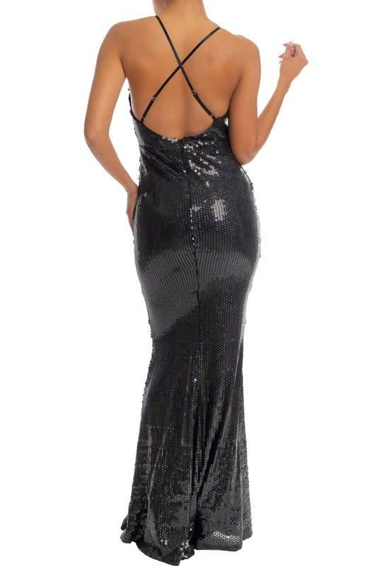Black Sequin Mermaid Maxi