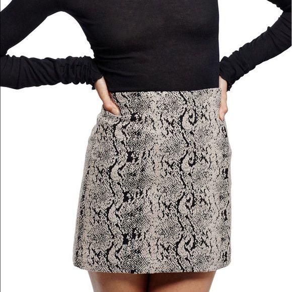 Tan Python Mini Skirt