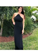 Black Halter Side Slit Maxi