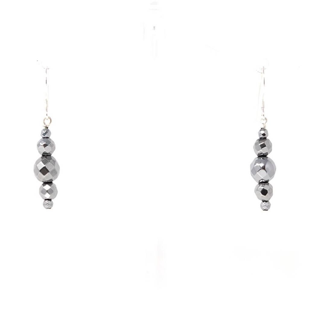 Silver Hematite Drop Earrings