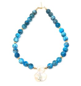 Apatite & Keshi Pearl Necklace