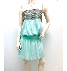 Aqua Beaded Mini Dress
