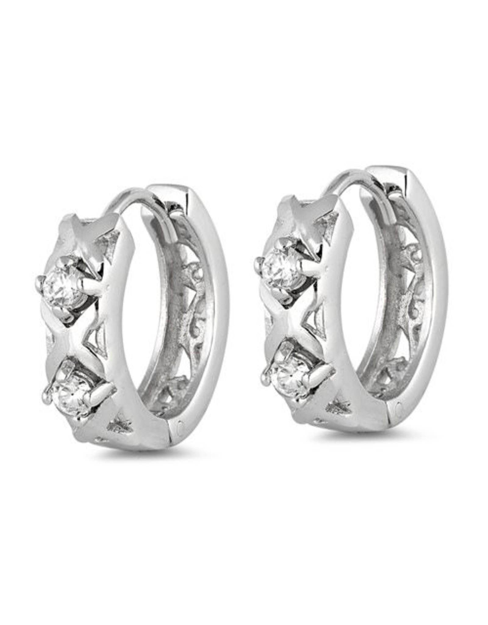 Double CZ Huggie Earrings