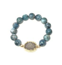 Grey Druzy & Apatite Bracelet