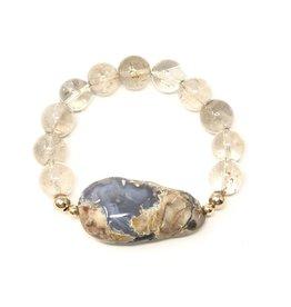 Chalcedony & Rutilated Quartz Bracelet