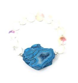Druzy Agate & Quartz Bracelet